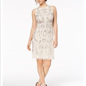 Adrianna Papell Flower Beaded A-line Dress